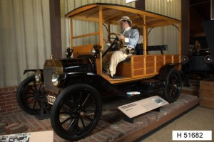 This Model T, housed at the National Road-Zane Grey Museum, was manufactured by the Ford Motor Company of Dearborn, Michigan. Via Ohio Memory.