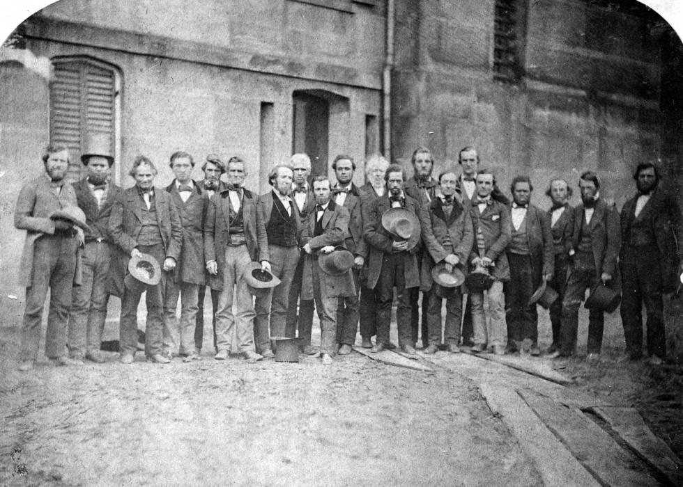 photograph depicting Oberlin Rescuers outside the Cuyahoga County Jail in April 1859. Via Ohio Memory.