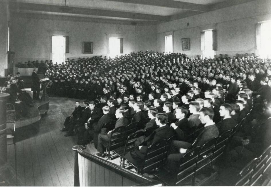 Oberlin College chapel President Fairchild in 1887, courtesy of the Oberlin College Archives via Ohio Memory.