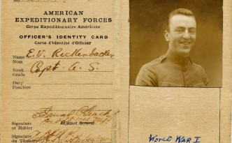 Identity card used by Eddie Rickenbacker during World War I, courtesy of the  National Museum of the United States Air Force via Ohio Memory.