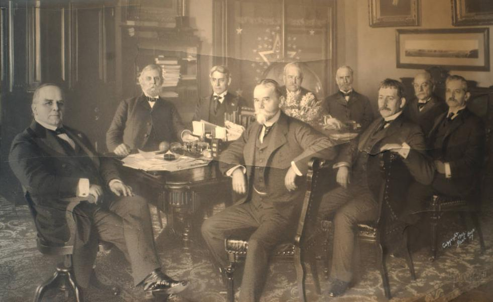 President William McKinley and his cabinet, April 15, 1901. Courtesy of the McKinley Memorial Library via Ohio Memory.