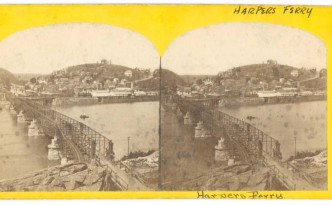 Stereograph view of a bridge at Harper's Ferry, West Virginia (once Virginia), via Ohio Memory.