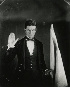 Photographic reproduction of a daguerreotype of abolitionist John Brown, ca. 1847. Via Ohio Memory.