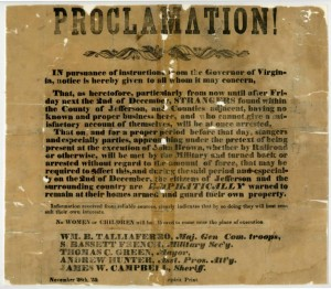 Proclamation related to the hanging of John Brown in Jefferson County, Virginia, via Ohio Memory.