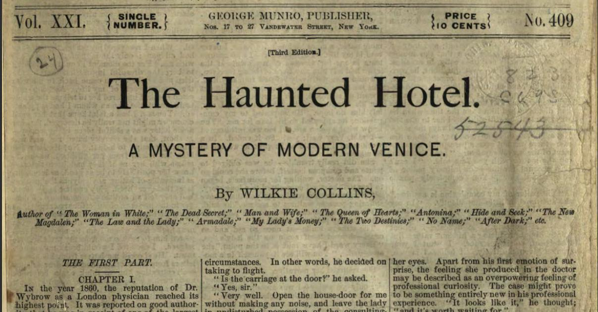 The Haunted Hotel by Wilkie Collins, 1878. Via the State Library of Ohio Rare Books Collection on Ohio Memory.
