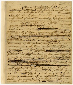 Anti-slavery tract in draft form by Lundy, via Ohio Memory.