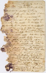 Damaged letter written by William Goodall, regarding the importance of sharing the history of abolition. Via Ohio Memory.