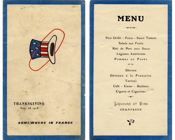 During a later wartime celebration, the 94th Aero Squadron dined on a French-inspired Thanksgiving dinner menu, 1918. Courtesy of the National Museum of the U.S. Air Force, via Ohio Memory.