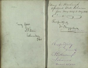Inside of former State Librarian Mary C. Harbaugh's autograph book, from the State Library of Ohio Rare Books Collection on Ohio Memory.
