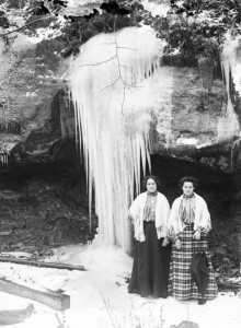 Two women posed for a winter photograph, from the Albert Ewing Collection on Ohio Memory.