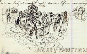 """Illustration from """"The Idyl of the Christmas Pine,"""" written by Geneva, Ohio, poet Edith M. Thomas in December 1874. Courtesy of the Ashtabula County District Library via Ohio Memory."""