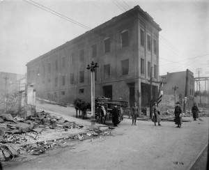 National Guard troops amid damage caused by fires set during the 1916 strike in East Youngstown, via the Youngstown Historical Center of Industry and Labor on Ohio Memory.