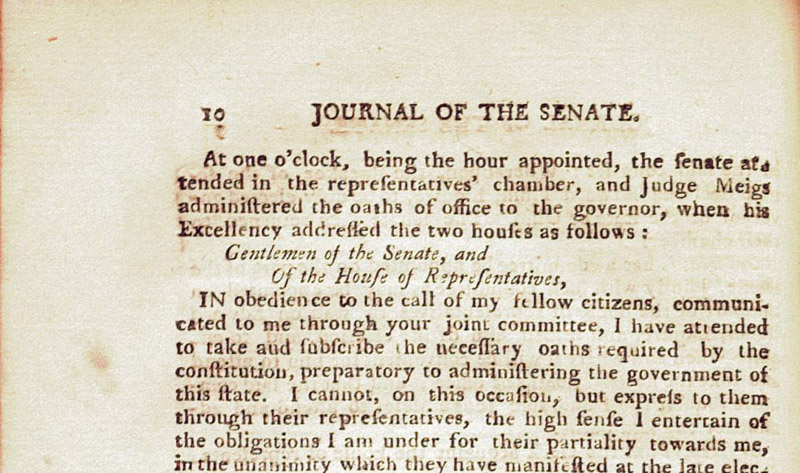 Opening of Edward Tiffin's first State of the State address in 1803, via Ohio Memory.