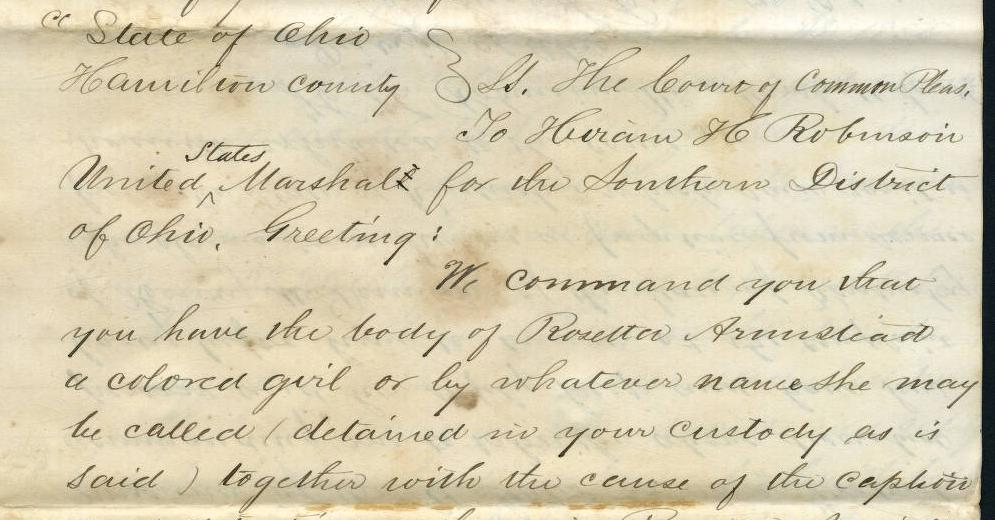 Hamilton County Court of Common Pleas transcript in the 1855 case of Rosetta Armstead, via Ohio Memory.