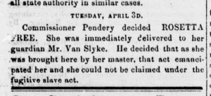 April 7, 1855, edition of the Anti-Slavery Bugle, reporting in great detail on the Armstead case and final ruling.