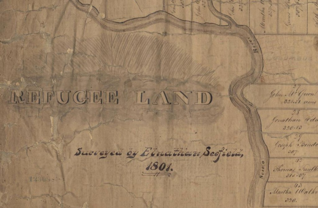 Leftmost portion of Scofield's Refugee Tract map, via the State Library of Ohio Rare Books Collection on Ohio Memory.