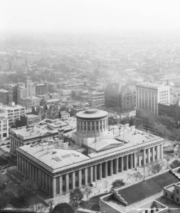 Aerial photograph of the Ohio Statehouse, located on Section XXII of the Refugee Tract, via Ohio Memory.