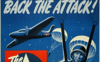 Close-up of a 1944 War Finance Division poster promoting financial support of the war effort, via Ohio Memory.