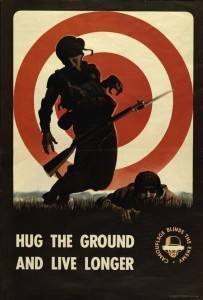 """Hug the Ground"" poster from the Government Printing Office, courtesy of the State Library of Ohio Digital Collection on Ohio Memory."