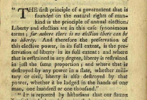 "First page of The Genuine Principles of the Ancient Saxon, or English Constitution,"" from the State Library of Ohio Rare Books Collection on Ohio Memory."