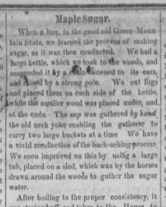 Account of making maple syrup and sugar from an 1865 issue of the Mt. Vernon Republican, courtesy of the Knox County Public Library via Ohio Memory.