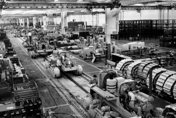 Terex plant assembly line in the 1960s, courtesy of the Hudson Library and Historical Society via Ohio Memory.