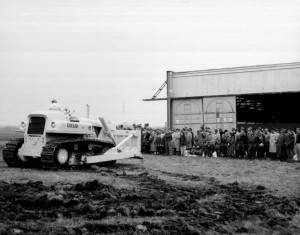 Governor O'Neill at the Terex groundbreaking, March 27, 1957. Courtesy of the Hudson Library and Historical Society via Ohio Memory.