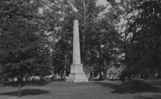 Gnadenhutten monument erected in honor of those killed March 8, 1782, in Tuscarawas County, Ohio. Via Ohio Memory.