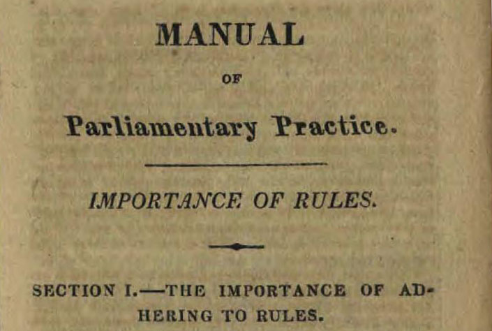 Beginning of Jefferson's Manual of Parliamentary Procedure, via the State Library of Ohio Rare Books Collection on Ohio Memory.