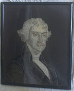 Needlepoint portrait showing Jefferson, from the Ohio History Connection museum collections at Adena, the estate of Thomas Worthington. Via Ohio Memory.