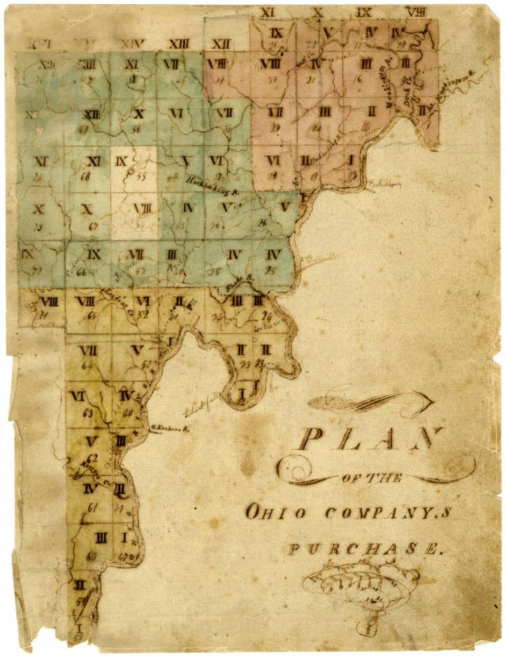 Map illustrating the first tract of Ohio land to be sold by the Continental Congress to the Ohio Company of Associates, ca. 1787. Via Ohio Memory.