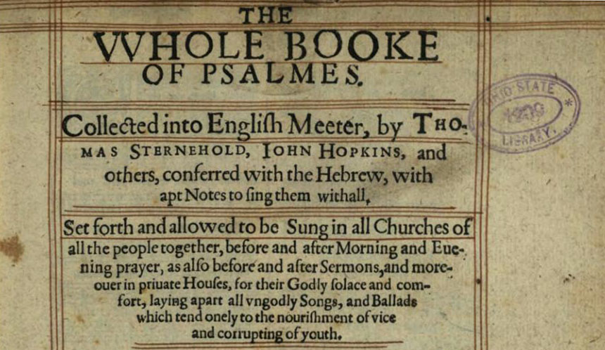 Title page of the Whole Booke of Psalmes, via the State Library of Ohio Rare Books Collection on Ohio Memory.
