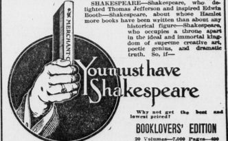 "Advertisement from the Perrsyburg Journal for the Booklovers' Edition of Shakespeare, the ""best...in existence."""