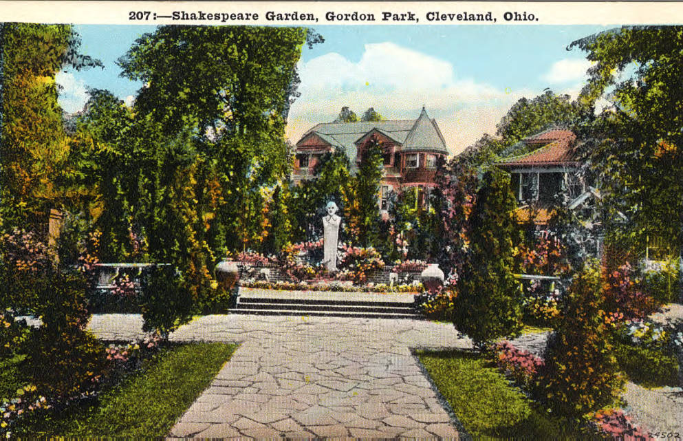 Postcard of Cleveland's Shakespeare Garden. Courtesy of the Cleveland Public Library via Ohio Memory.