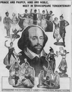 The Mount Vernon Democratic Banner's front page feature on Shakespeare in honor of his 300th death anniversary. Via Chronicling America.