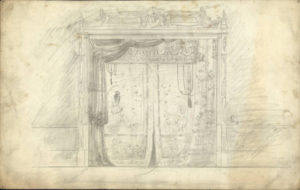 Late 18th/early 19th century set design for Romeo & Juliet, sketched by Mathias Armbruster. Courtesy of The Ohio State University Theatre Research Institute via Ohio Memory.