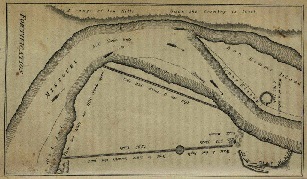 Lewis and Clark map showing a fortification along the Missouri River, from History of the Expedition via the State Library of Ohio Rare Books Collection on Ohio Memory.