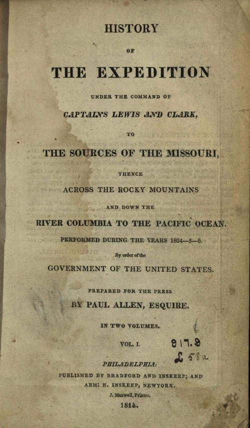 Title page from History of the Expedition.