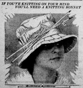 Knitting hat, complete with needles. Via Chronicling America.