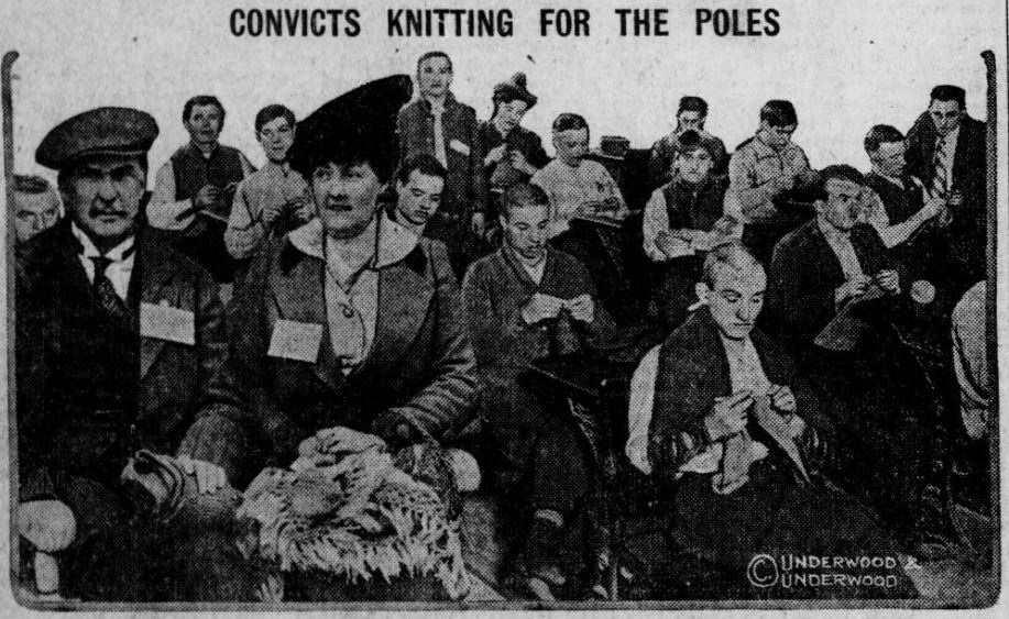 Men at the Sing Sing Prison in New York State knitting for the war effort. Via Chronicling America.