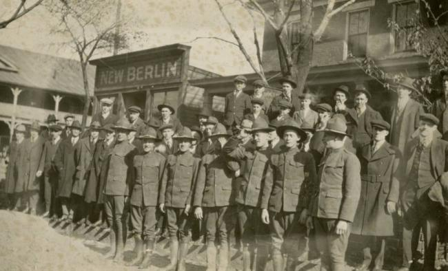 World War I soldiers in the public square of New Berlin, Ohio, which would soon be renamed North Canton, 1917. Courtesy of the North Canton Heritage Society via Ohio Memory.