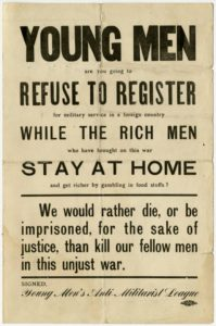 Flier published by the Young Men's Anti-Militarist League discouraging young men from registering for military service. From the World War I in Ohio Collection on Ohio Memory.