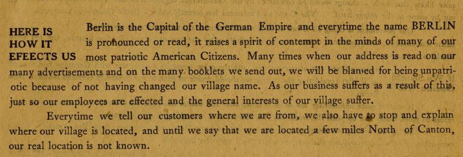 "Excerpt from pamphlet titled ""Concerning the change of the name of New Berlin,"" courtesy of the North Canton Heritage Society via Ohio Memory."