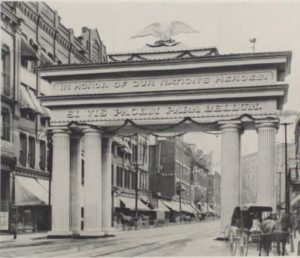 Memorial Day arch, 1898, courtesy of the University of Akron via Ohio Memory.