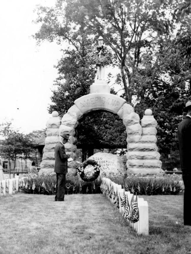 1954 Memorial Day service held at Camp Chase Confederate Cemetery, via Ohio Memory.