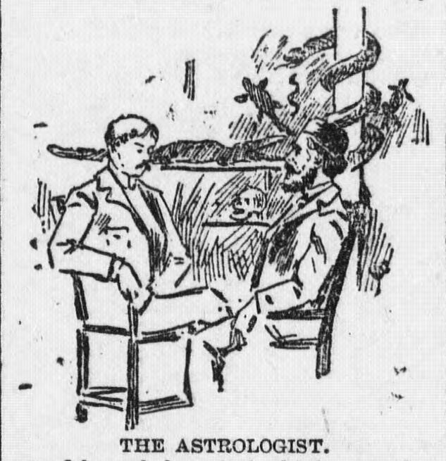Illustration of an astrologer from the Democratic Northwest and Henry County News. Via Chronicling America.
