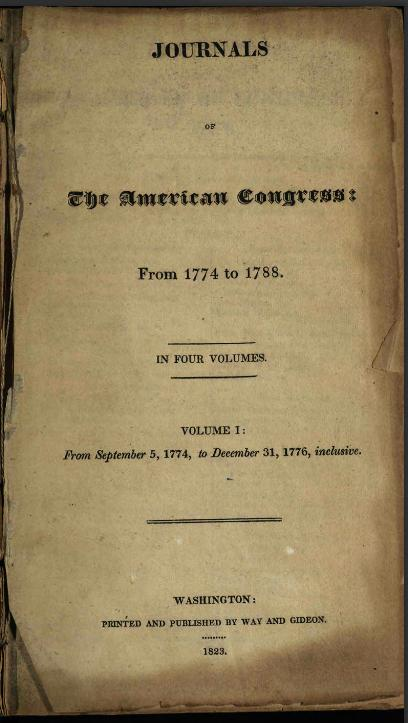 Title page of Journals of the American Congress, via the State Library of Ohio Historical Documents Collection.