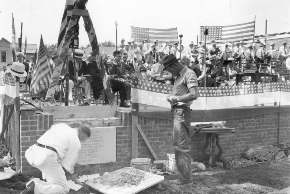 Corner-stone laying ceremony of the Federal Post Office at Bluffton, Ohio, July 21, 1940. Courtesy of the Bluffton Public Library via Ohio Memory.