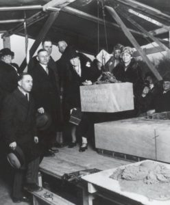 Cornerstone being laid for the Rocky River Public Library in 1928. Courtesy of the Rocky River Public Library via Ohio Memory.