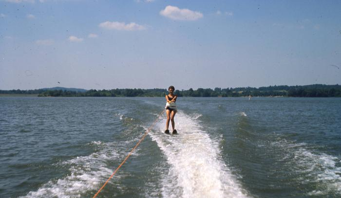 Water-skier on Seneca Lake in northeastern Noble County, ca. 1966, via Ohio Memory. Seneca Lake is the largest lake in the Muskingum Watershed Conservancy District, with more than 3500 acres of water.